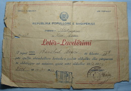 1952/53 Albania School DIPLOMA City Of KORCA - Albania