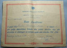 1969/70 Albania School DIPLOMA Village Of MEMALIAJ, Seal MEMALIAJ, RARE - Albania