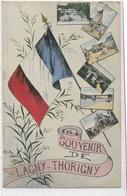 77 LAGNY-THORIGNY . Souvenir , Drapeau Et Multivues , édit : Sans , écrite  , état Extra - Lagny Sur Marne
