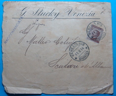 1914 Albania REGISTERED Cover Sent From VENEZIA (Giudezza, Ferrovie) Through BRINDIZI Italy To Poste Italiane SCUTARI, R - Albanie