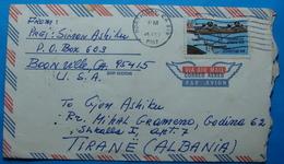 1987 Albania Airmail Cover Sent From NORTH BAY (California) USA To TIRANA - Albania