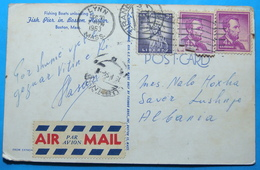 1953 Albania BOSTON Airmail Postcard Sent From LYNN (Massachusets) USA To LUSHNJA Through TIRANA - Albania