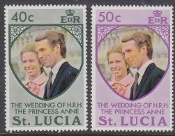 St LUCIA, 1973 ROYAL WEDDING 2 MNH - St.Lucia (...-1978)