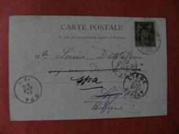1900 Turquie Constantinople Obliteration Francaise Sur Carte Timbre Sage Pour Liege - Other