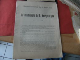 Election Senatoriale 20 Juillet 1913 Candidature Henry Cheron Plaquette Candidature - Historical Documents