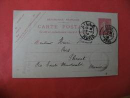 Daguin Double Jumele Lille Obliteration Sur Entier Postal - Poststempel (Briefe)