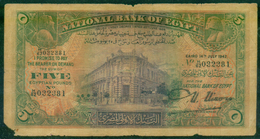 EGYPT / 5 POUNDS / DATE : 14 -7-1942 / P- 19C / PREFIX : M62 / USED - Egypt