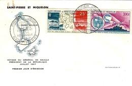 1867- Premier Jour D'émission- Voyage Du Général De Gaulle  - SAINT-PIERRE  N° 38 Et 39 Ae - St.Pierre Et Miquelon