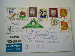 LIYTHUANIA USED COVER  8 STAMPS ARMS TOWN - Lithuania