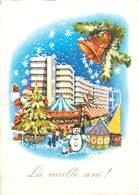 D1381 Winter Seasonal Greetings Postcard Santa Claus  Snowman Fantasy Merry Go Round - Nouvel An