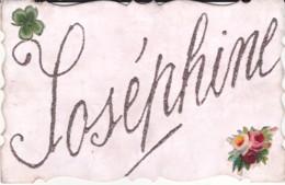 Carte Prenom , Josephine En Paillettes (trefle à Quatre Feuilles, Fleurs) - Prénoms