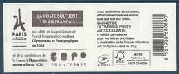 YT 1214 - Carnet Lettre Prioritaire - Marianne De Ciappa Et Kawena - Couverture Jeux Olympiques Paris 2024 - Summer 2024: Paris