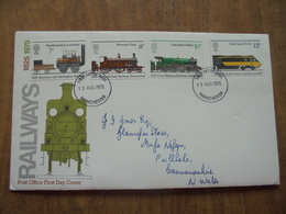 S062: FDC: RAILWAYS 1825-1975. 7p,8p,10p,12p. First Day Of Issue 13 AUG 1975 Manchester. - FDC