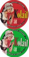 ETIQUETTE FROMAGE  TYPE CAMEMBERT -  2 étiquettes Différentes De  KOLAIT -   Fab En LORRAINE MEUSE 55-Q - Quesos