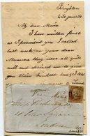 BRIGHTON Pour LONDRES LAC De 1849 Avec N°3     Paypal Not Accept - 1840-1901 (Victoria)
