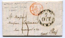 MILAN Pour PARIS LAC Du 07/10/1845 Entrée AUTRICHE 2 ST LOUIS 2 Et Taxe De 15 - 1801-1848: Precursors XIX