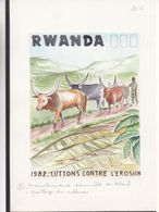 Rwanda - Aquarelle Sére COB 1159 / 68 - Lutte Contre L'érosion - Bovins - Oscar Bonnevalle - Rwanda