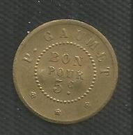 Jeton Militaire - Cantine Du Fort De Stains - 5 Centimes - Monnaie De Nécessité Numérotée 690 - Monétaires / De Nécessité