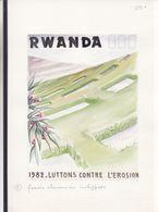 Rwanda - Aquarelle Sére COB 1159 / 68 - Lutte Contre L'érosion - Oscar Bonnevalle - Rwanda
