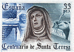Ref. 85725 * NEW *  - SPAIN . 1982. 4th CENTENARY OF THE DEATH OF ST. THERESE OF AVILA . 4 CENTENARIO DE LA MUERTE DE SA - 1931-Hoy: 2ª República - ... Juan Carlos I