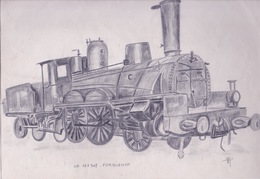 FORQUENOT     121307   Locomotive   DESSIN ORIGINAL  AU CRAYON  Signé - Chemin De Fer