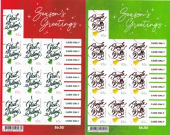 Australia 2018 Christmas - Season's Greetings Mint Self-adhesive Sheetlets - 2010-... Elizabeth II