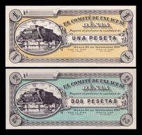 España Spain Civil War Denia Set 2 Billetes 1 & 2 Pesetas 1936 SC UNC - [ 2] 1931-1936 : República