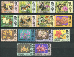Johore 1971/79 Mi. 161-174 Neuf ** 100% Papillons, Fleurs - Johore