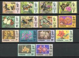 Kedah 1971/79 Mi. 113-126 Neuf ** 100% Papillons, Fleurs - Kedah