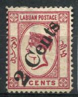 Labuan 1885 Mi. 21 Sans Gomme 20% Surimprimé 2 Cents - Grande-Bretagne (ex-colonies & Protectorats)