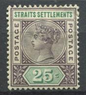 Établissements Des Détroits 1892 Mi. 67 Neuf * 60% Reine Victoria, 25 C - Straits Settlements