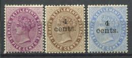 Établissements Des Détroits 1894-1899 Sans Gomme 80% Reine Victoria - Straits Settlements