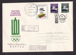Lithuania: Registered Cover To Poland, 1992, 3 Stamps, Special Cancel, Olympic Committee, Olympics (traces Of Use) - Litouwen