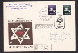 Lithuania: Registered Cover To Poland, 1992, 2 Stamps, Special Cancel, Genocide Jewish Population, WW2 (traces Of Use) - Litouwen