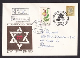 Lithuania: Registered Cover To Russia, 1993, 2 Stamps, Special Cancel, Genocide Ghetto Jewish Population (traces Of Use) - Litouwen