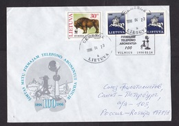 Lithuania: Cover To Russia, 1996, 3 Stamps, Special Cancel, 100 Years Telephone, WWF Bison Stamp (traces Of Use) - Litouwen