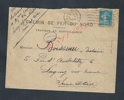 LETTRE COMMERCIALE SUR TIMBRE DE 1924 CHEMIN DE FER DU NORD TRAVEAUX & SURVEILLANCE OB PARIS GARE DU NORD X OB LAGNY : : - 1906-38 Semeuse Camée