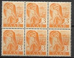 SARRE   -   1947 . Y&T N° 197  **  En Bloc De 6. - Sarre
