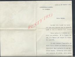 AUTOGRAPHE LETTRE LE GOUVERNEUR GÉNÉRAL DE L ALGÉRIE ECRITE DE ALGER 1931 - Autógrafos