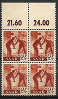 SARRE   -   1947 . Y&T N° 205 **  En Bloc De 4. - Saargebiet