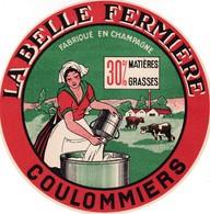 ETIQUETTE FROMAGE  -  COULOMMIERS -   LA BELLE FERMIERE -    Fab En CHAMPAGNE  MARNE 51 - Quesos