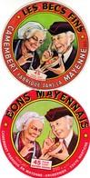 ETIQUETTE FROMAGE  -  TYPE CAMEMBERT -  2 étiquettes Du BONS MAYENNAIS -   Fab En MAYENNE  FR 53.146.01 - Fromage