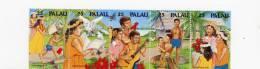 Palau-1990-Noel-guitare-colombe-enfants-poules-papillons  YT 356/60***MNH- - Natale