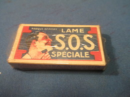 Lames De Rasoir Anciennes/SOS/Lame Spéciale/Fabrication Française/Marque Déposée//( 5 Lames)/Vers1920-50   PARF106 - Lames De Rasoir