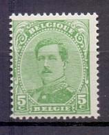 137C  ALBERT I 5C. GROEN TYPE 4 POSTFRIS** 1922 - 1915-1920 Albert I