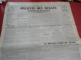Journal Des Débats Politiques Et Littéraires 28 Septembre 1936 Guerre Espagne Tolède Bilbao Cordoue ,Dévaluation Franc - Journaux - Quotidiens