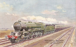 """""""Souther Railway. Continental  Express Lord Nelson"""" Tuck Oilette The World Fliers Ser. PC # 3593 - Tuck, Raphael"""