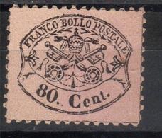 Papal States,Definitive 80 C 1868.,MNG - Etats Pontificaux