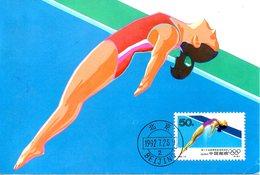 CHINE. N°3123 De 1992 Sur Carte Maximum. Plongeon. - Kunst- Und Turmspringen