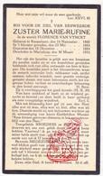 DP EZ Florence Van Vynckt - Zr. Rufine ° Knesselare 1865 † Marialoop Meulebeke 1933 - Images Religieuses